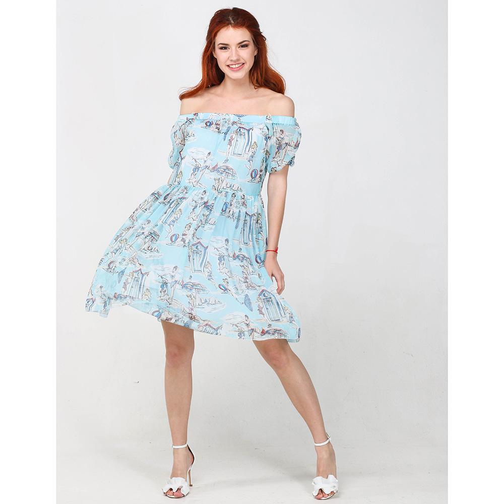 Голубое платье Blugirl Blumarine с открытыми плечами