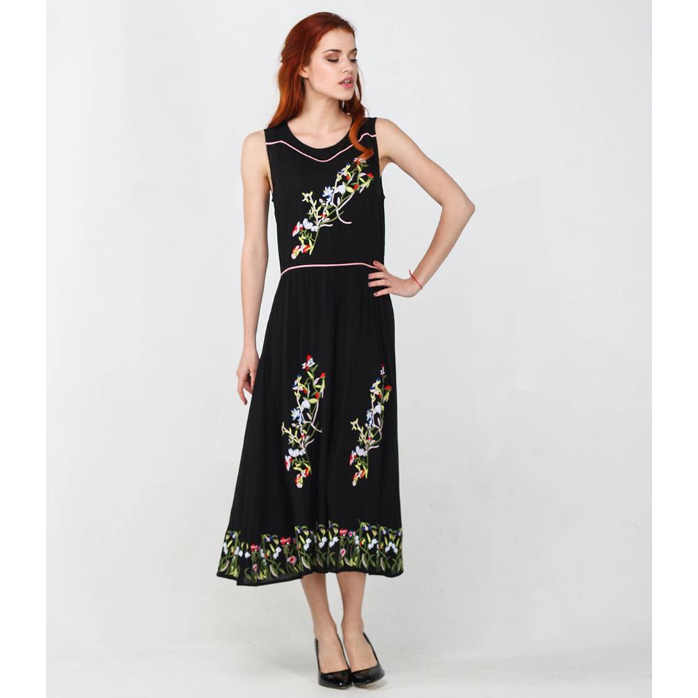 Черное платье-миди Blugirl Blumarine с цветочным принтом