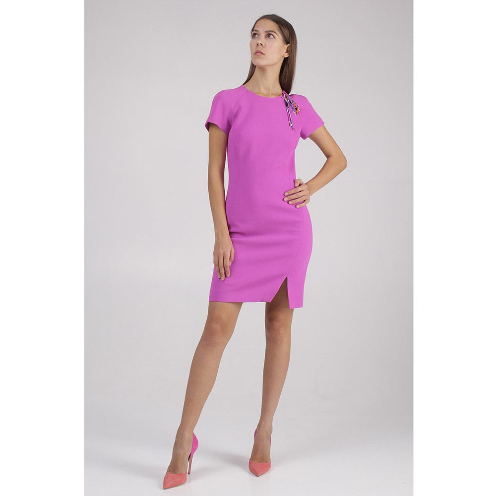 Платье фуксия шнуровка на плече Emilio Pucci