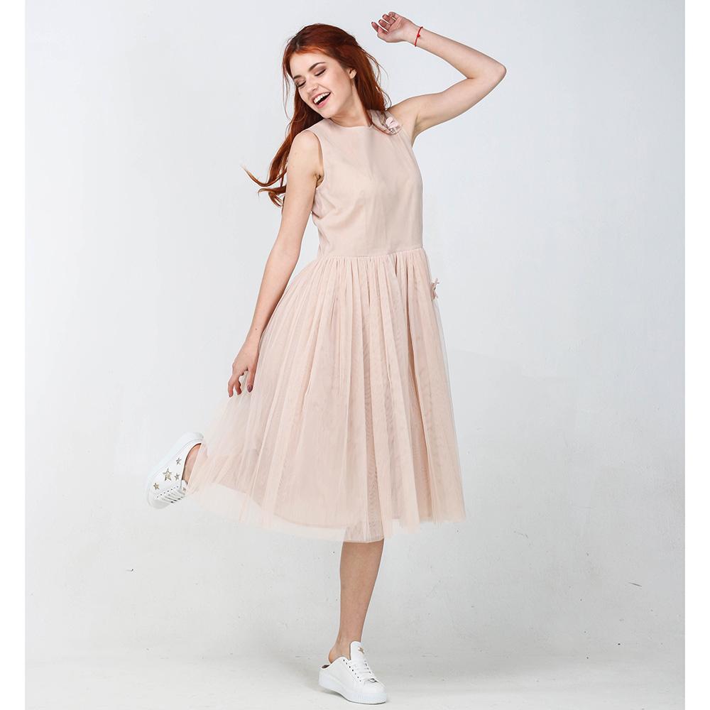Платье Blugirl Blumarine бежевого цвета с пышной юбкой