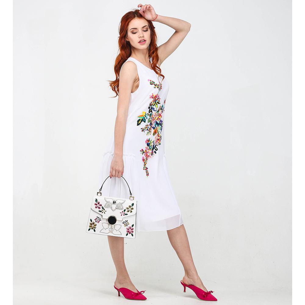 Белое платье Blugirl Blumarine с цветочным принтом