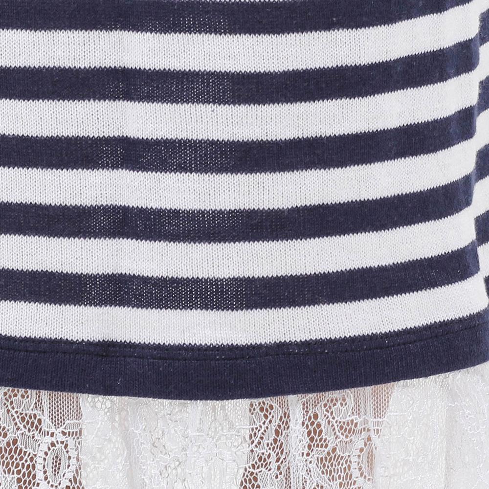 Длинное платье Woolen Bloom в полоску с кружевом