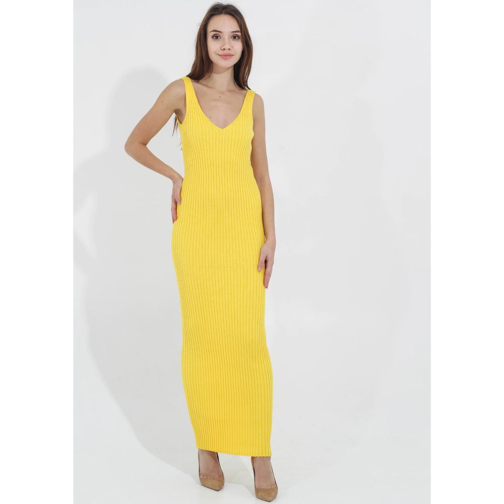 Вязаное платье-сарафан Woolen Bloom желтого цвета
