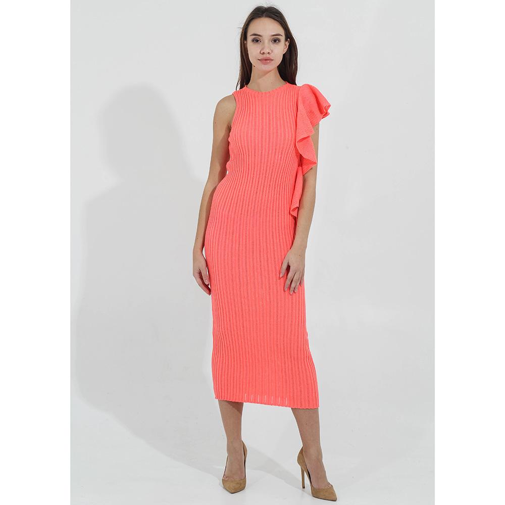 Вязаное платье Woolen Bloom с воланами на одном плече