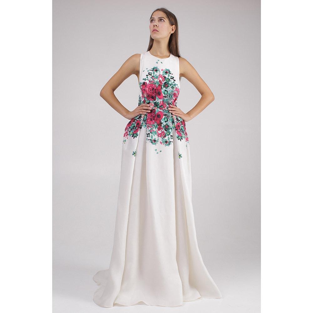 Платье в пол Elie Saab с цветочным рисунком
