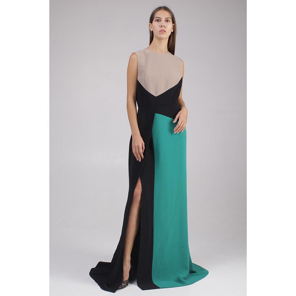 Платье в пол Elie Saab зеленое с черными вставками