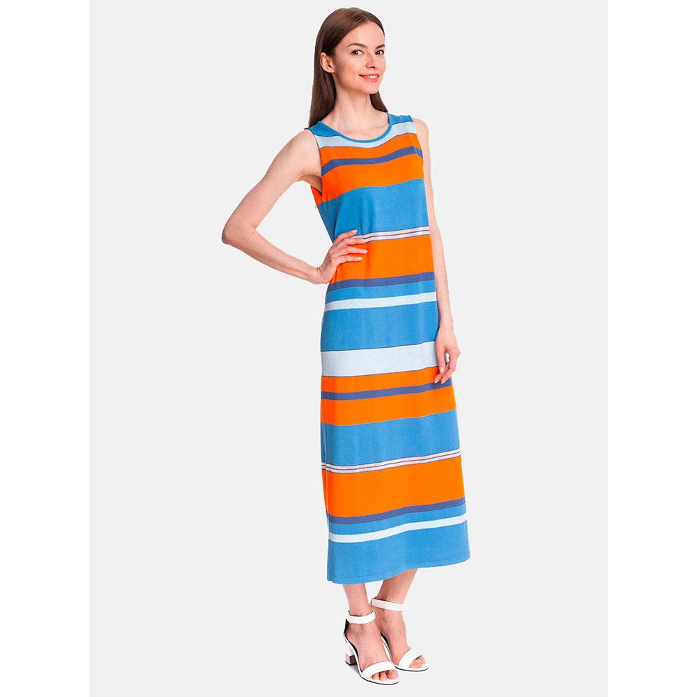 Трикотажное длинное платье RITO синее с оранжевым