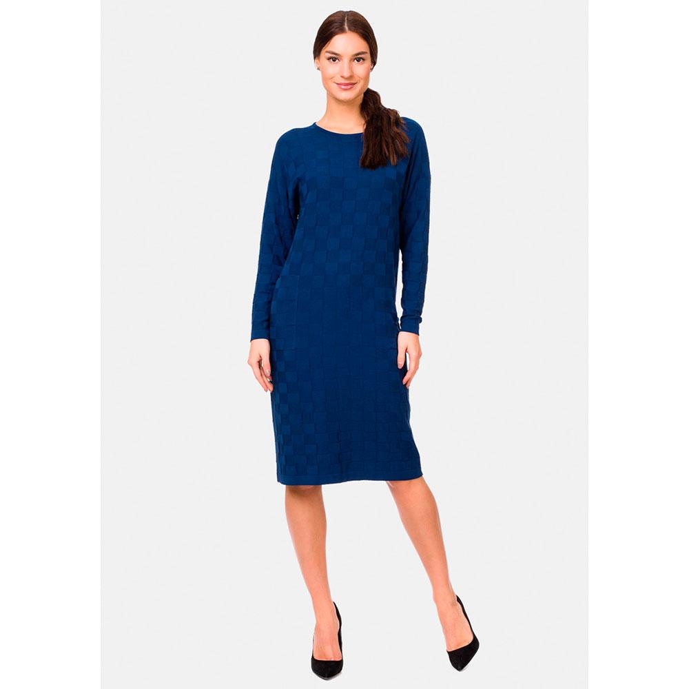 Синее платье RITO из трикотажа с фактурным узором