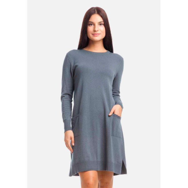 Серое платье-трапеция RITO с накладными карманами