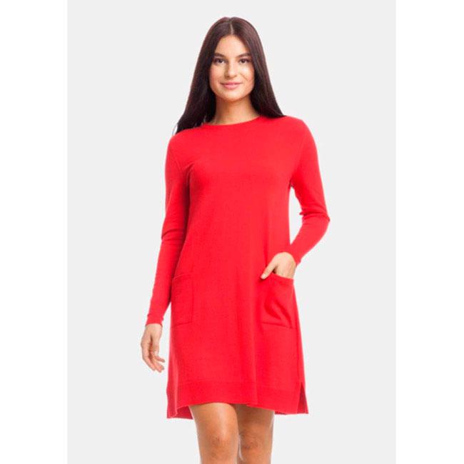 Платье-трапеция RITO красного цвета с длинными рукавами