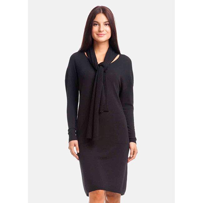Черное трикотажное платье RITO с воротником в виде шарфа
