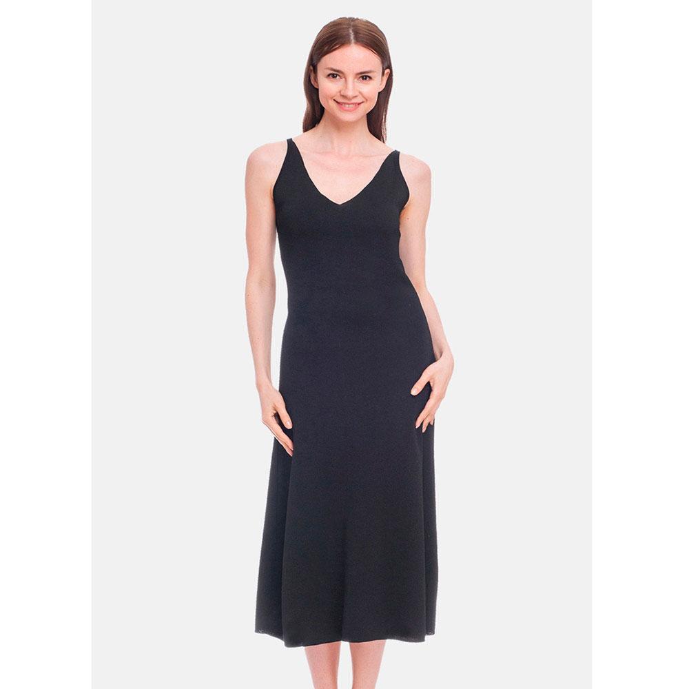 Черное трикотажное платье RITO с расклешенной юбкой