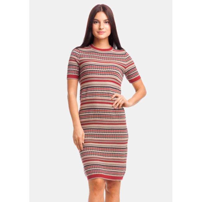 Трикотажное жаккардовое платье RITO в полоску с коротким рукавом
