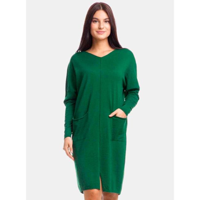Платье RITO изумрудного цвета с накладными карманами