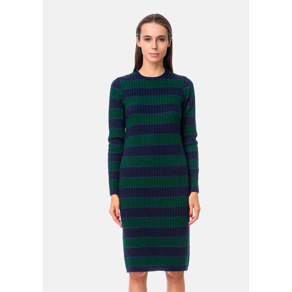 Платье жаккардовое RITO в синюю и зеленую полоску