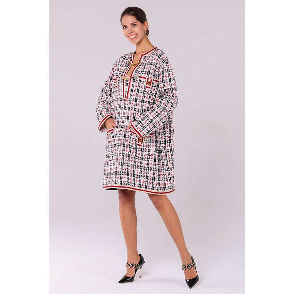 Клетчатое платье Gucci прямого кроя с металлическим декором