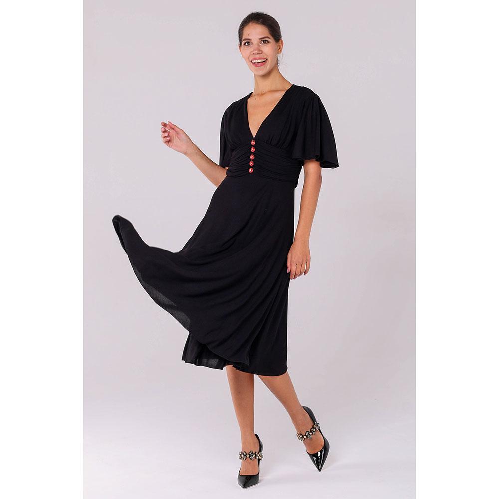 Черное платье Gucci с пуговицами в виде божьих коровок
