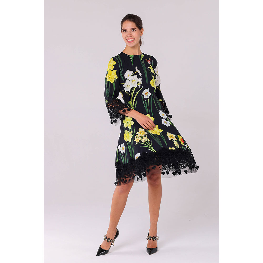 Черное платье Dolce&Gabbana с цветочным принтом и кружевом