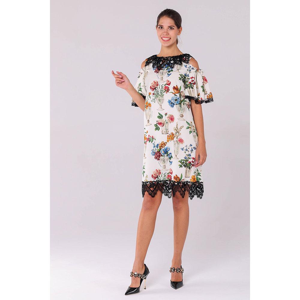 Шелковое платье Dolce&Gabbana с ярким принтом и черным кружевом