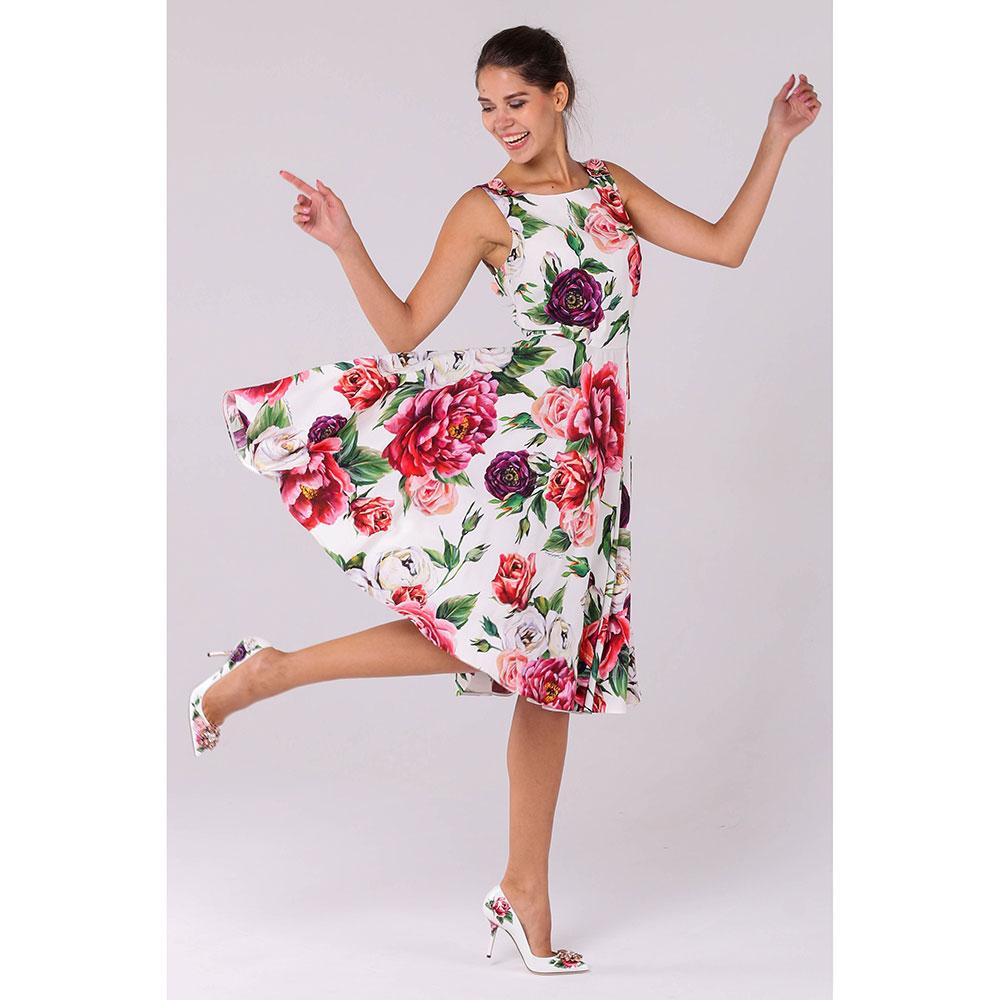 Платье с пышной юбкой Dolce&Gabbana с цветочным принтом