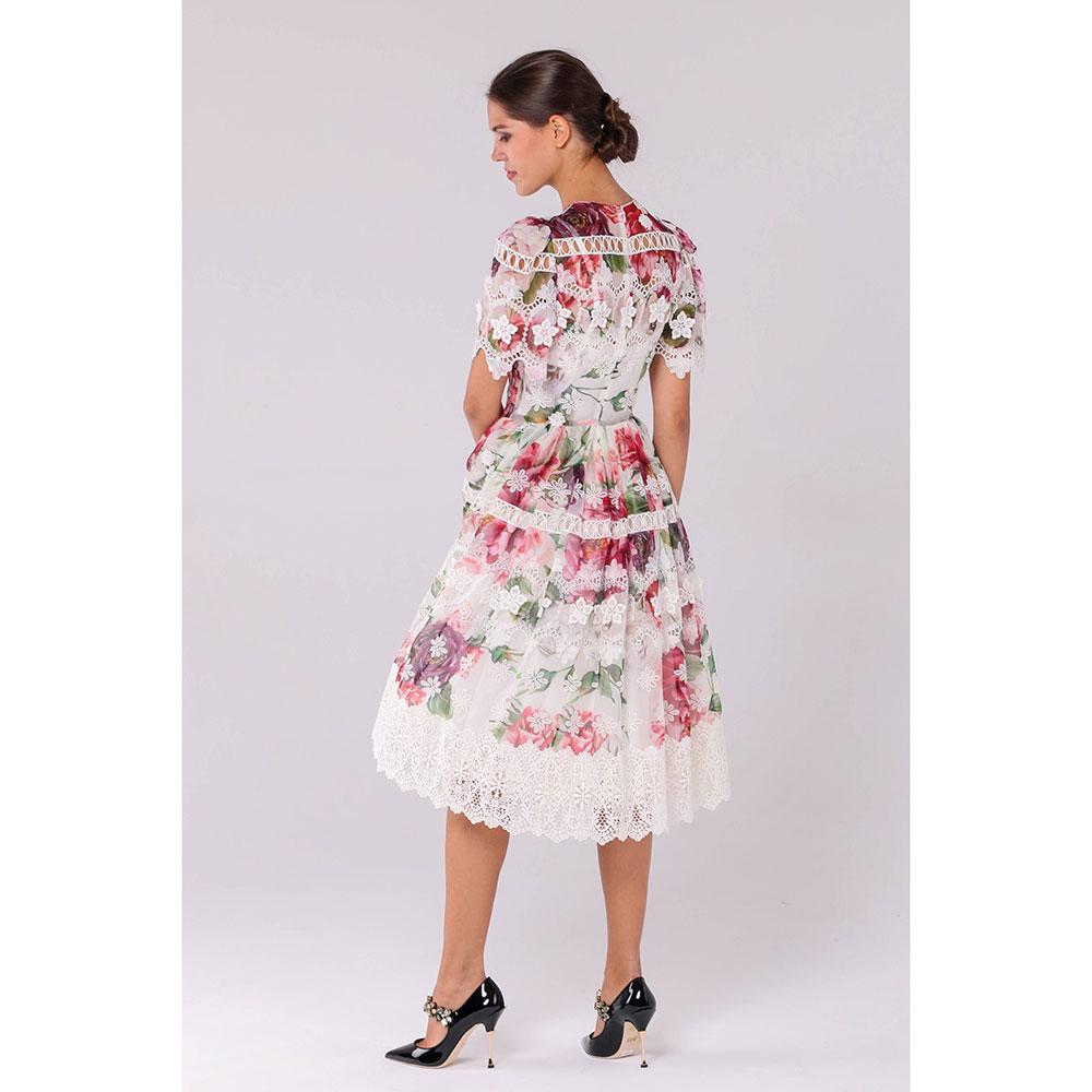 Белое платье Dolce&Gabbana с кружевом и флористическим принтом