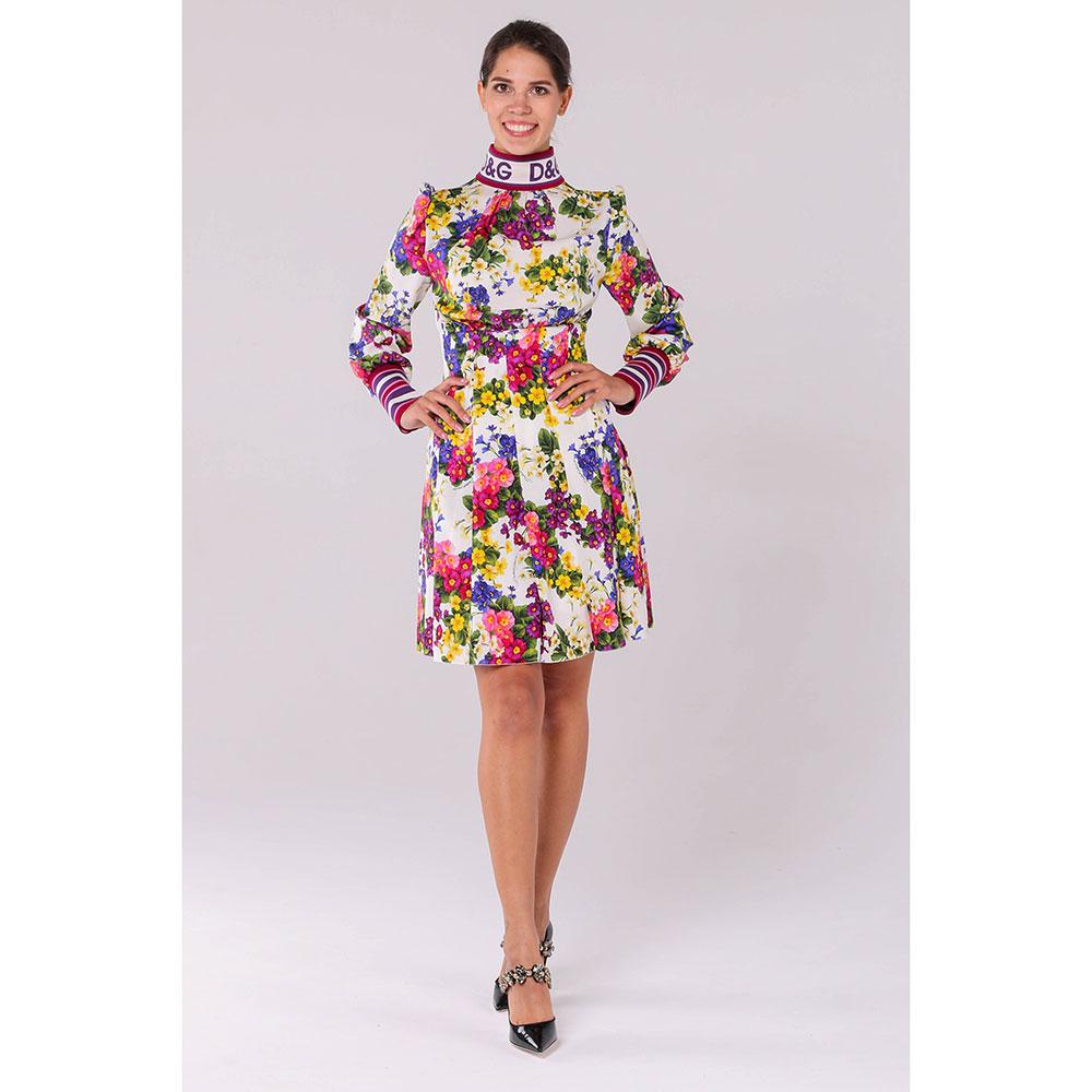 Платье из шелка Dolce&Gabbana с цветочным принтом