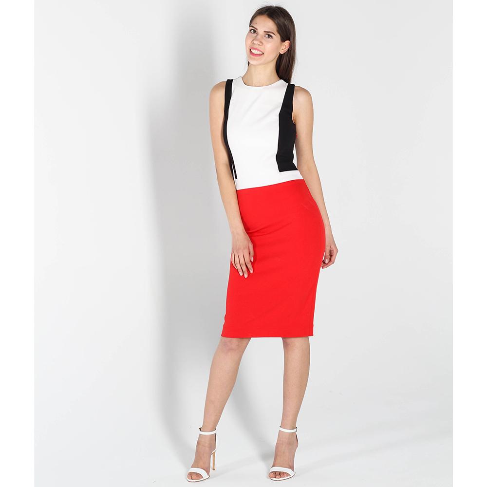 Трехцветное платье-футляр Kristina Mamedova с красной юбкой