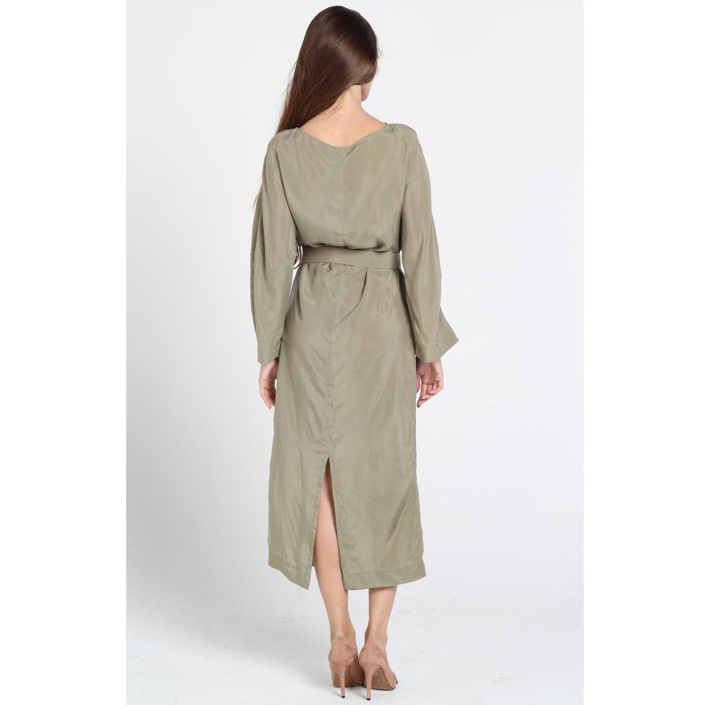 Длинное шелковое платье Kristina Mamedova цвета хаки