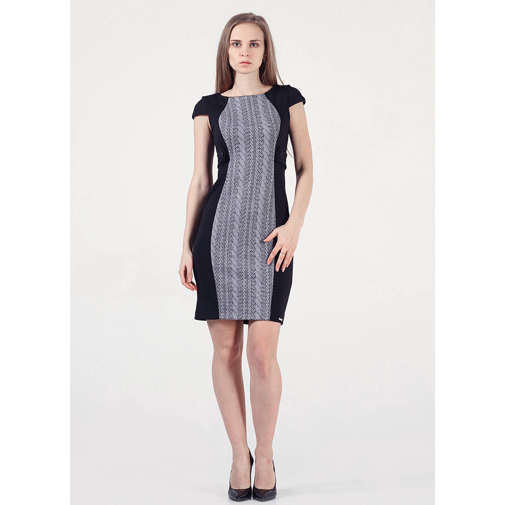 Платье Rinascimento черного цвета с серой вставкой