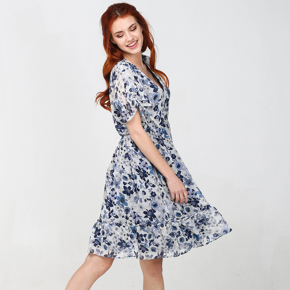 Платье Twin-Set Simona Barbieri с цветочным принтом синего цвета