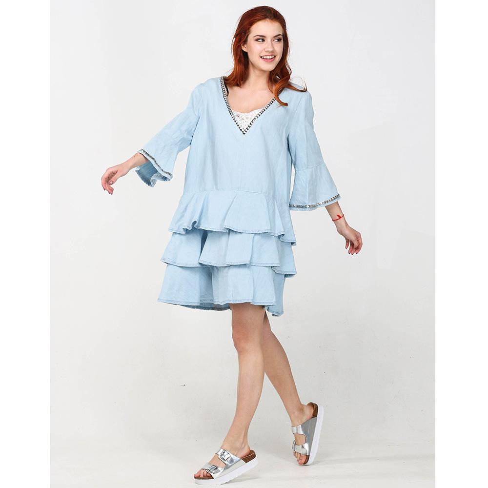 Голубое платье Twin-Set Simona Barbieri с воланами
