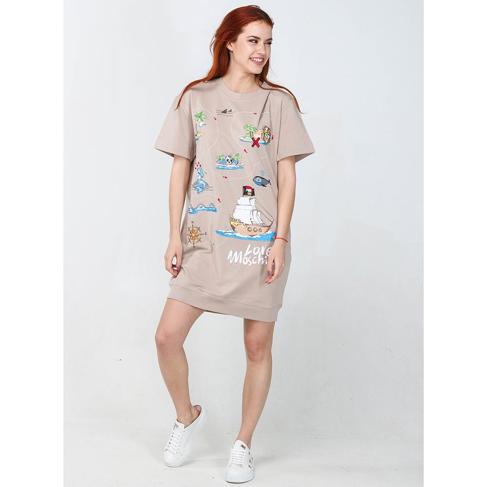 Бежевое платье Love Moschino с морским принтом