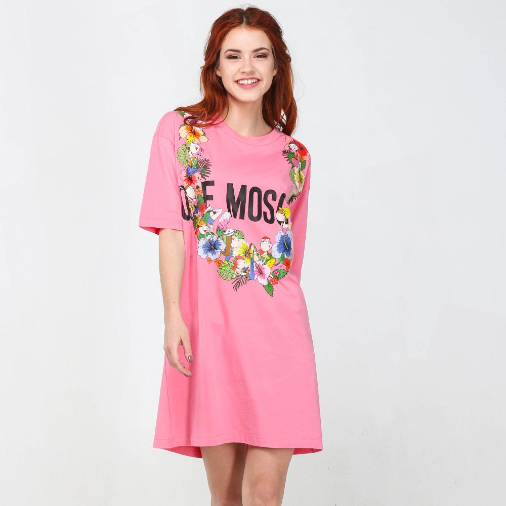 Платье Love Moschino розового цвета до колен