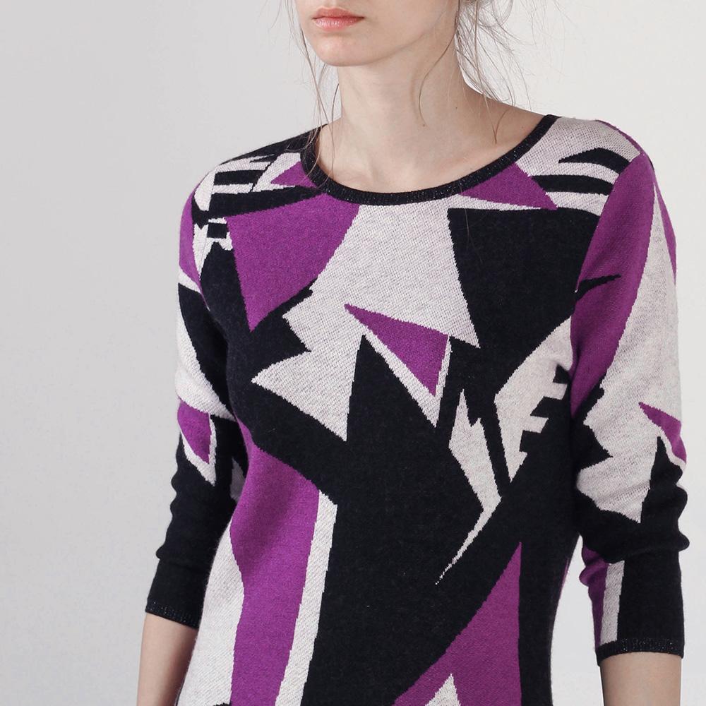 Трикотажное повседневное платье Cerruti с абстрактным принтом
