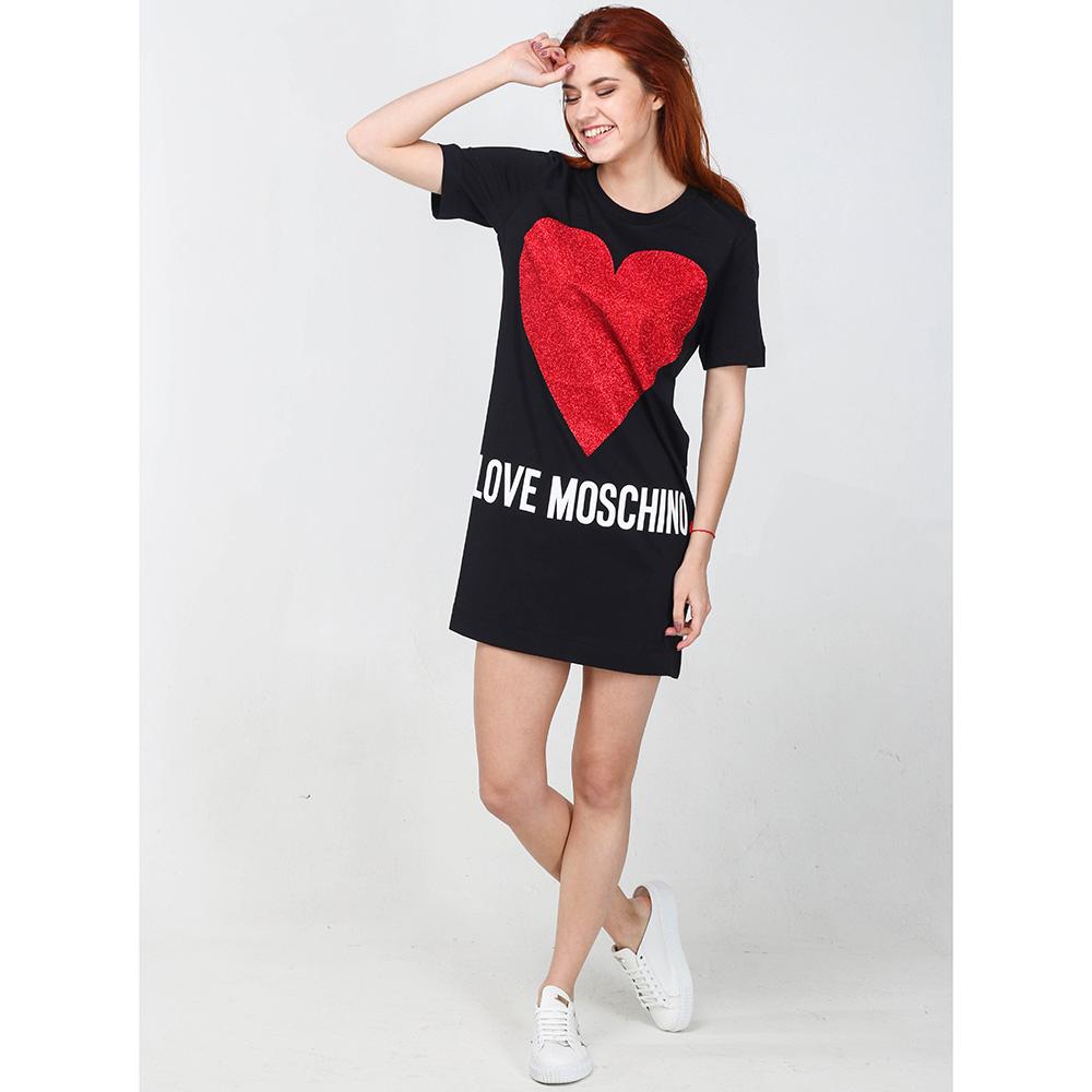 Черное платье Love Moschino до колен с принтом-сердцем