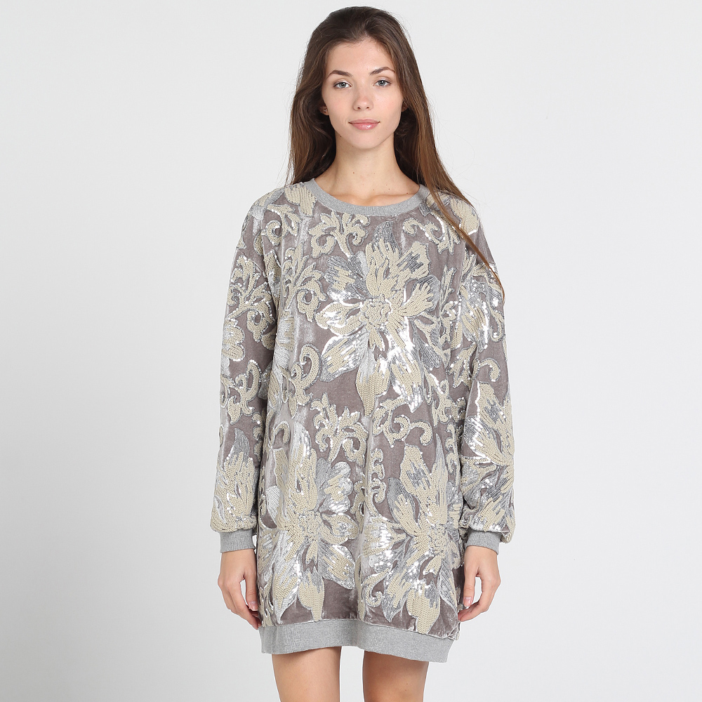Велюровое платье-туника Twin-Set Simona Barbieri оверсайз серого цвета