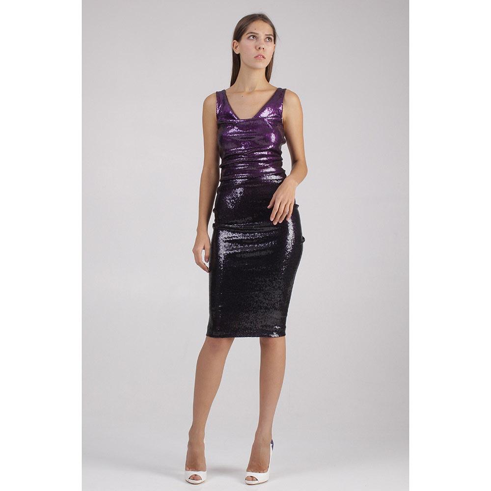 Фиолетовое платье Donna Karan в пайетках