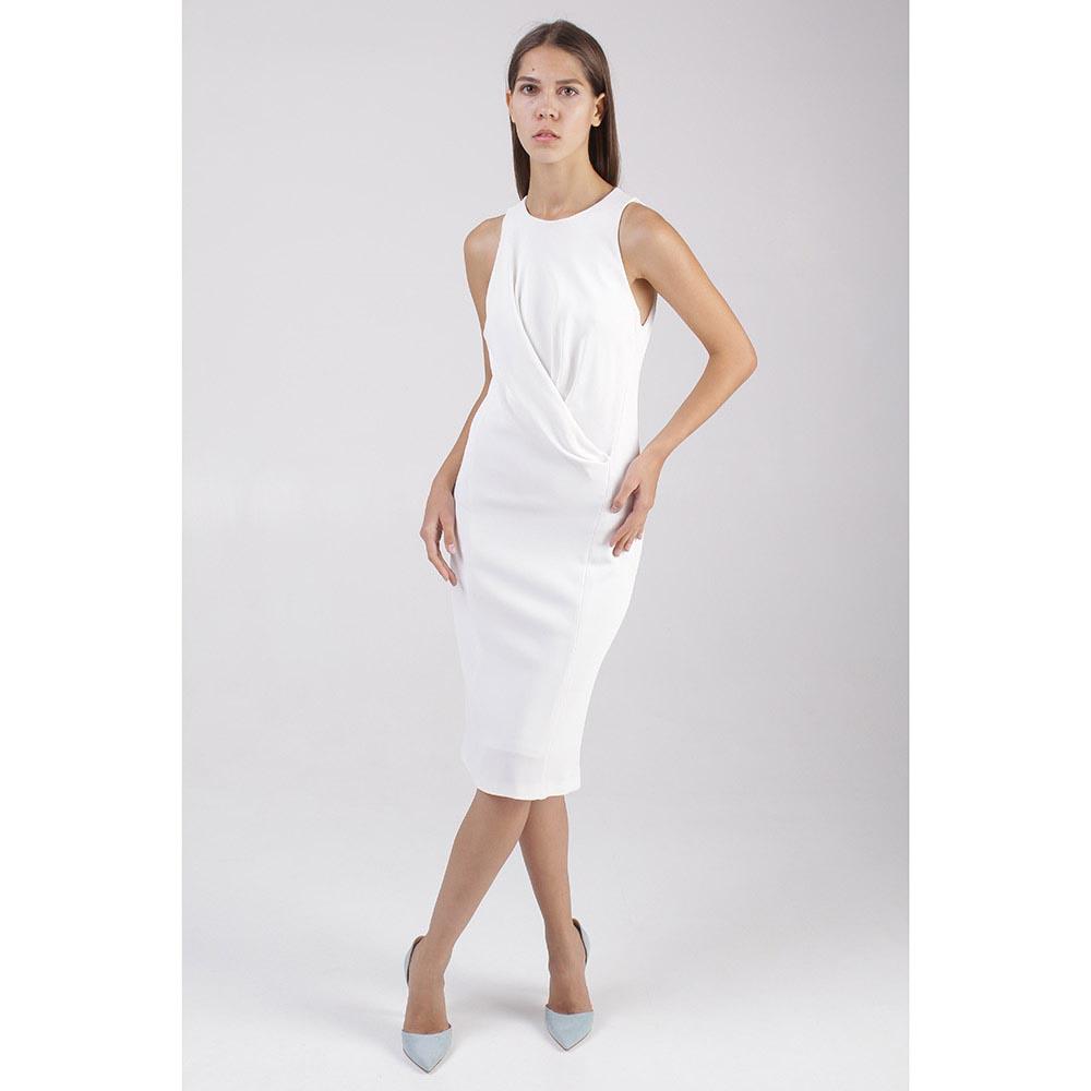 Платье Donna Karan белого цвета с драпировкой