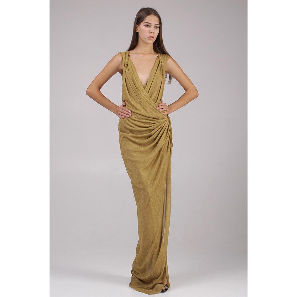 Длинное платье Donna Karan золотистого цвета