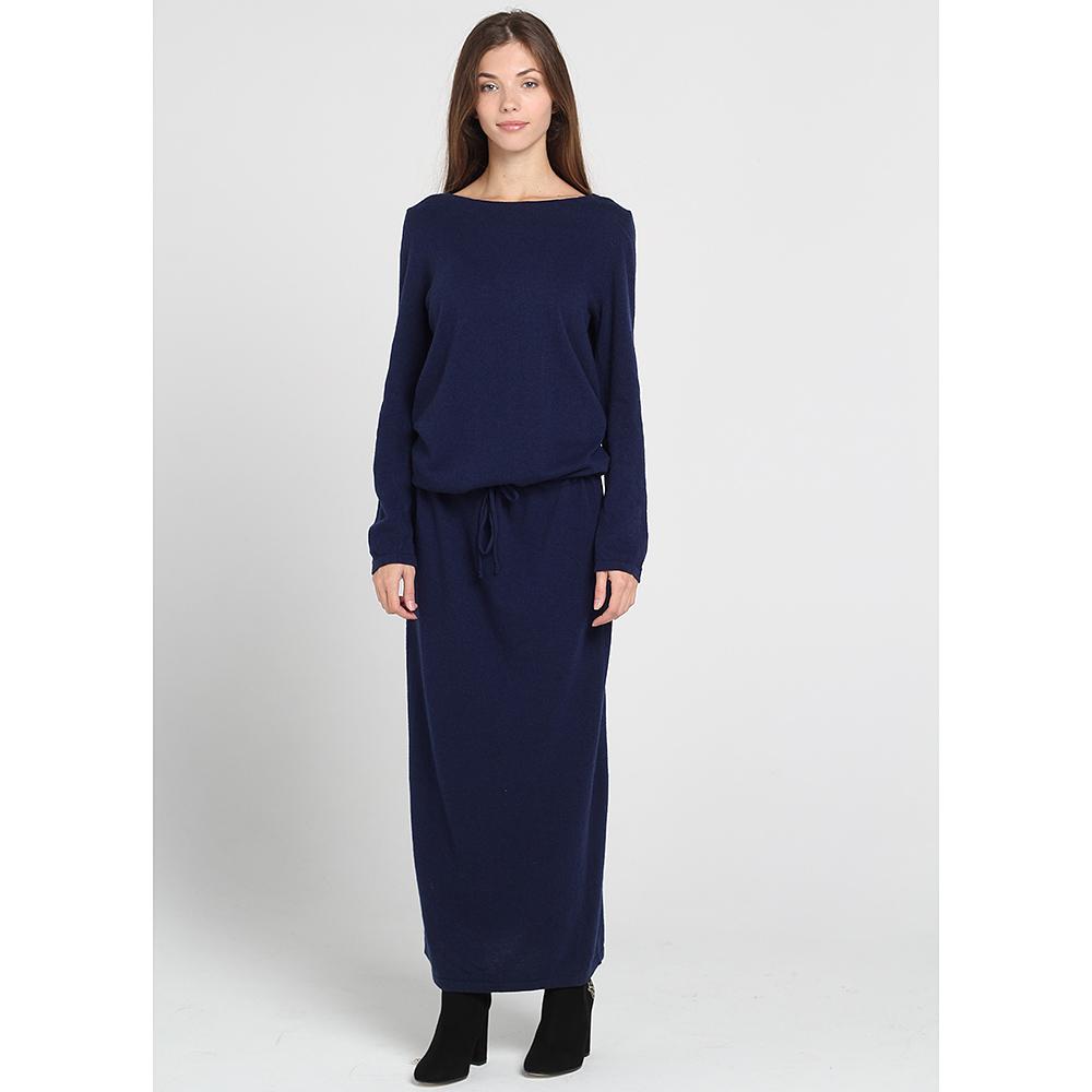 Трикотажное платье Contatto синего цвета с заниженной талией