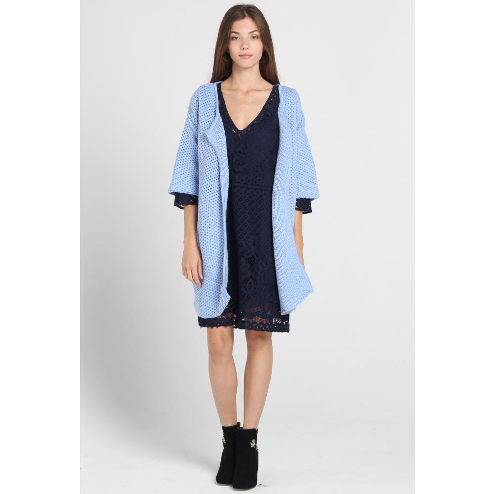 Синее кружевное платье Atos Lombardini с коротким рукавом