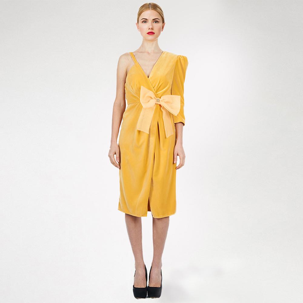 Желтое платье Elisabetta Franchi с бантом