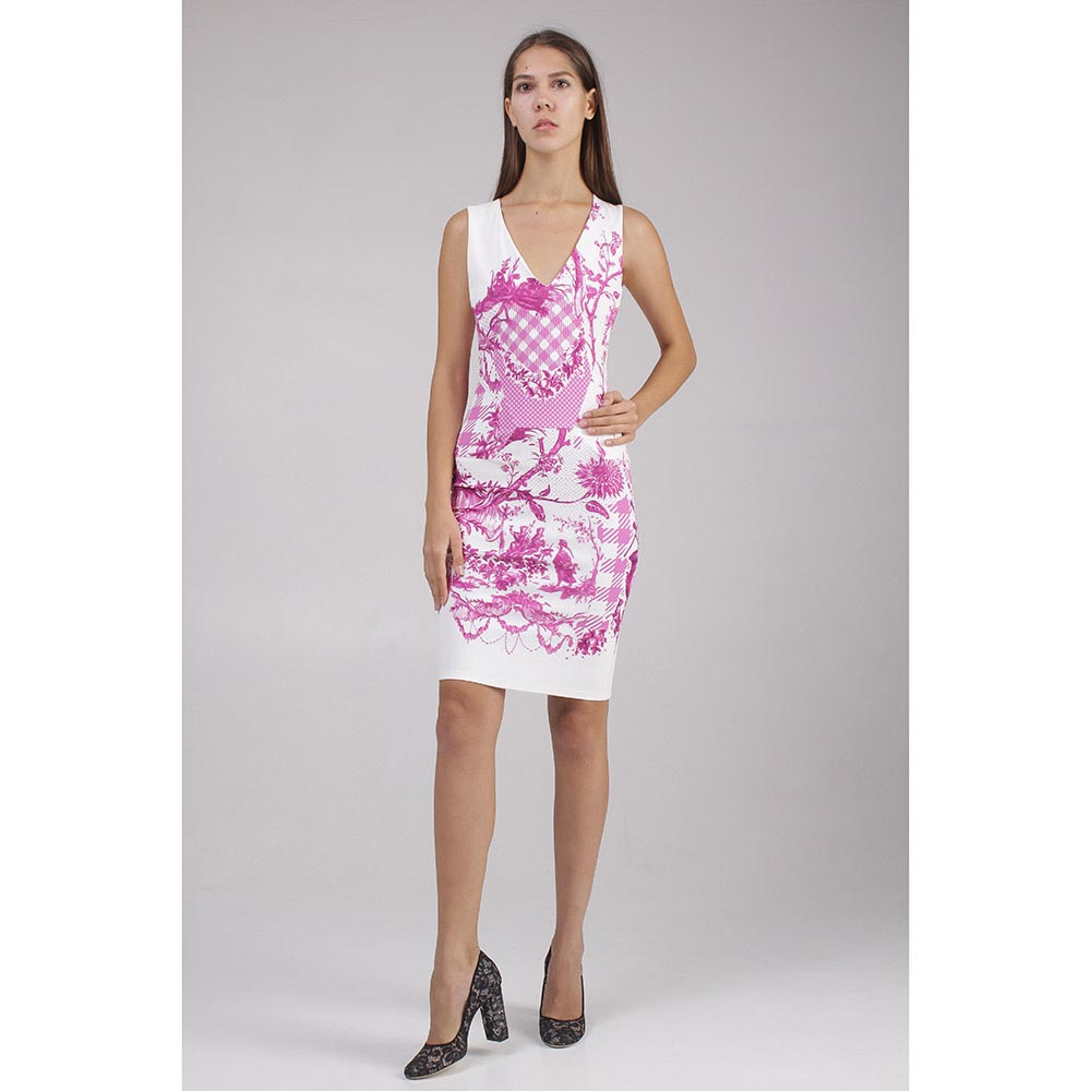 Платье Roberto Cavalli белое с сиреневым рисунком