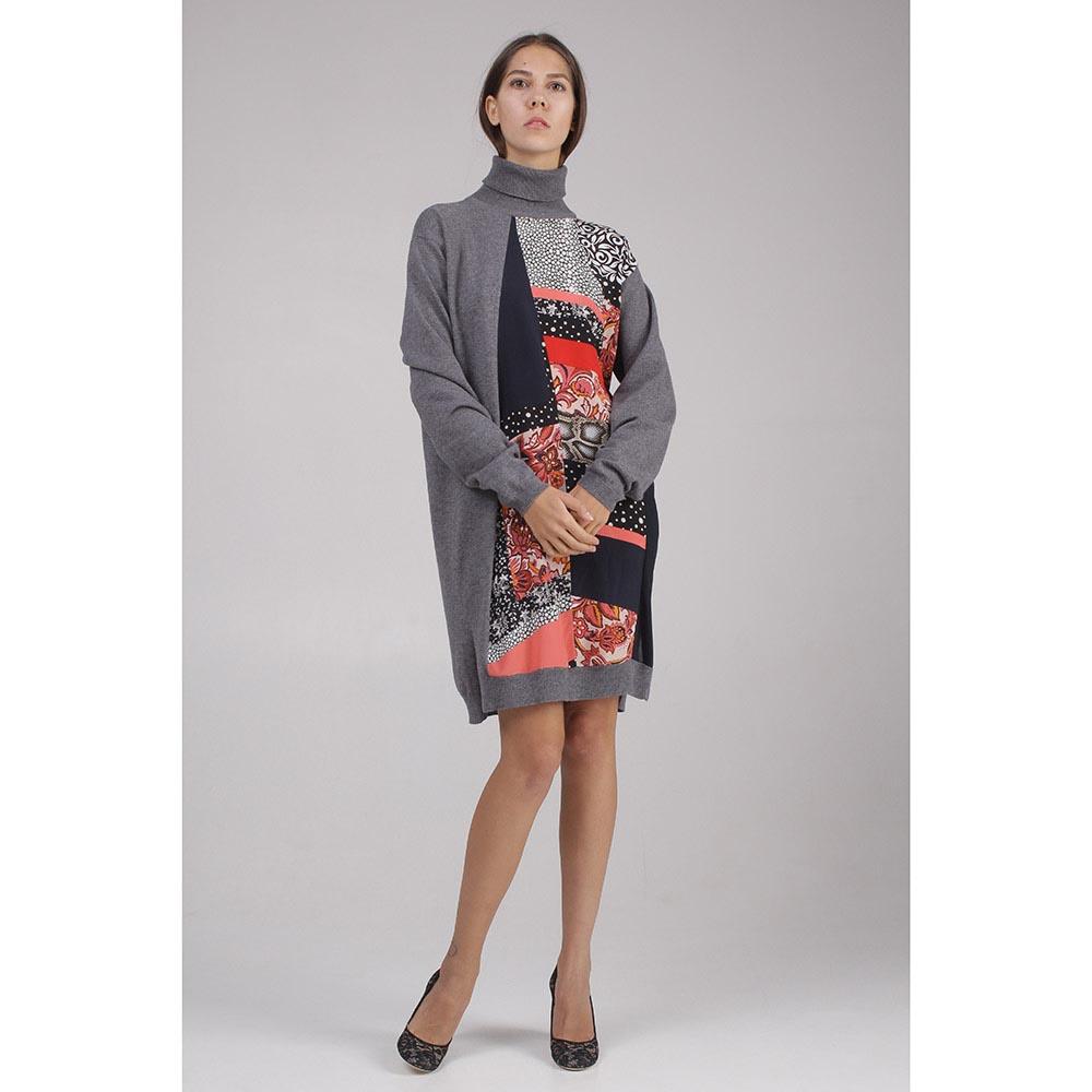 Платье трикотажное серое с цветной вставкой Roberto Cavalli
