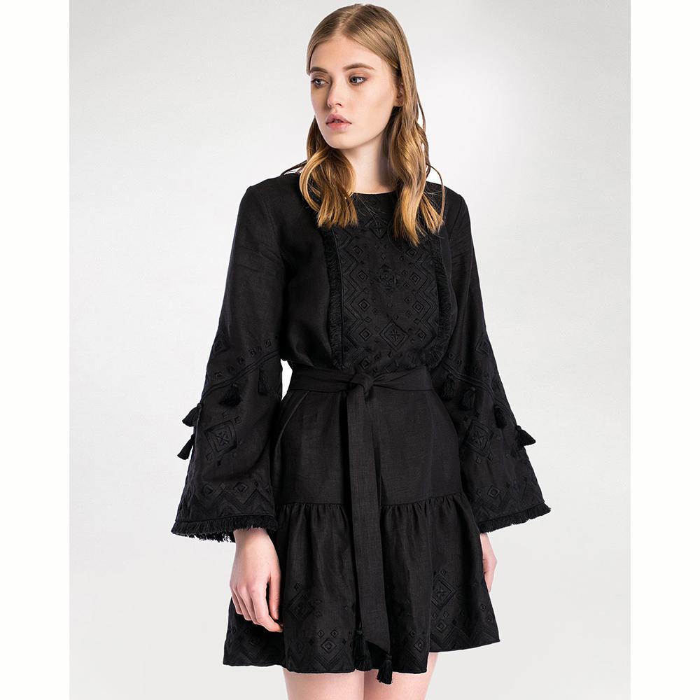 Черное платье Etnodim Black Mary с кисточками и бахромой