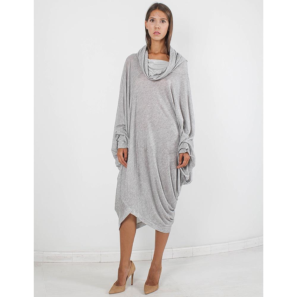 Трикотажное платье Plein Sud оверсайз серого цвета