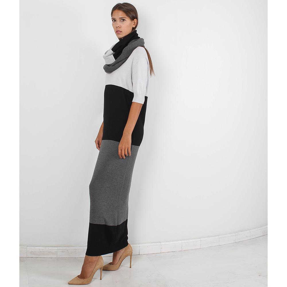 Длинное трикотажное платье Forever Unique серое с черным