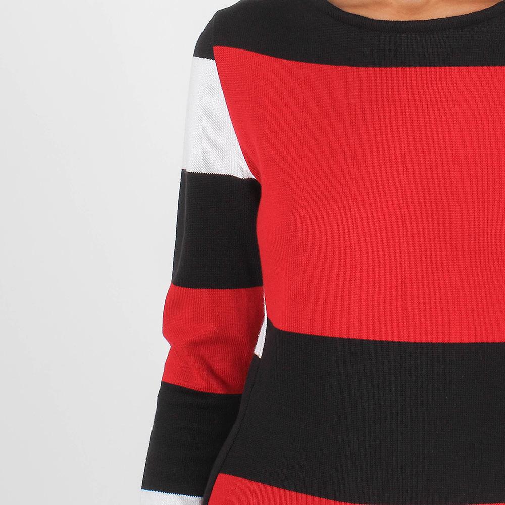 Трикотажное платье-миди Forever Unique красное с черными и белыми полосками