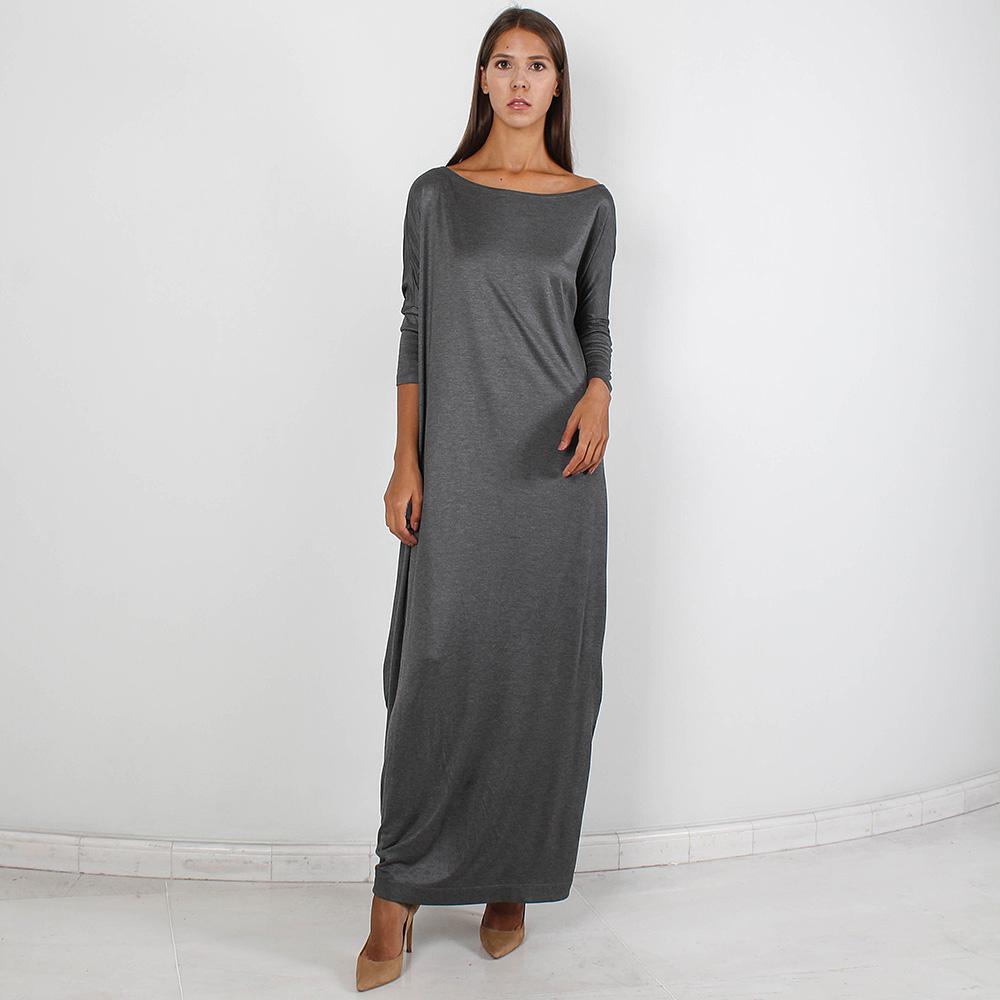Серое длинное платье Forever Unique с укороченным рукавом