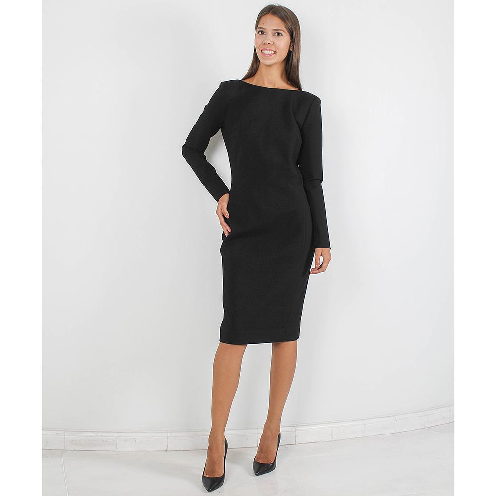 Платье-футляр Forever Unique черного цвета с вырезом-лодочкой